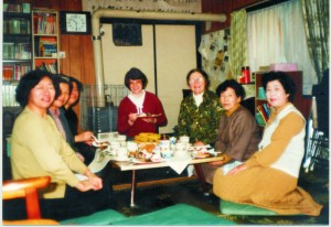 Sitting on the tatami at a low table. Helen Little taught cooking and I gave Bible lessons.